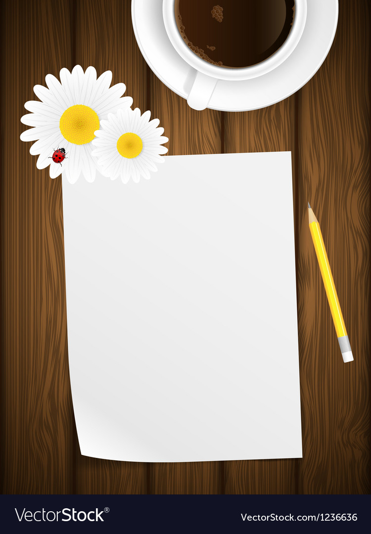 Blank paper on wooden background with flowers vector image