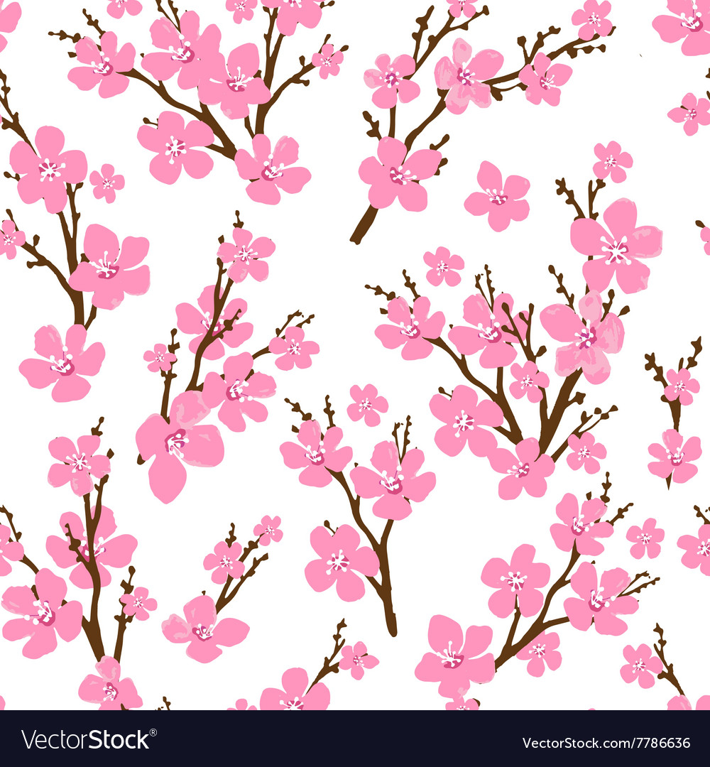 Seamless pattern with cherry blossoms Spring vector image