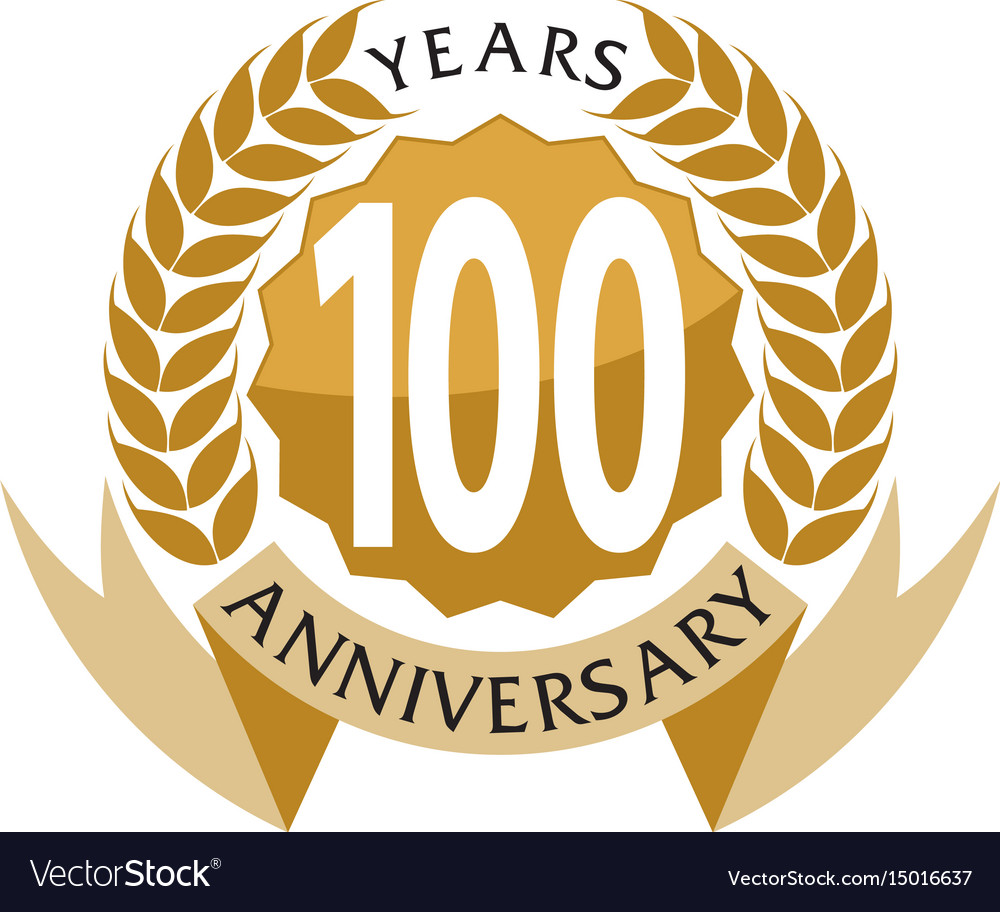100 years ribbon anniversary vector image
