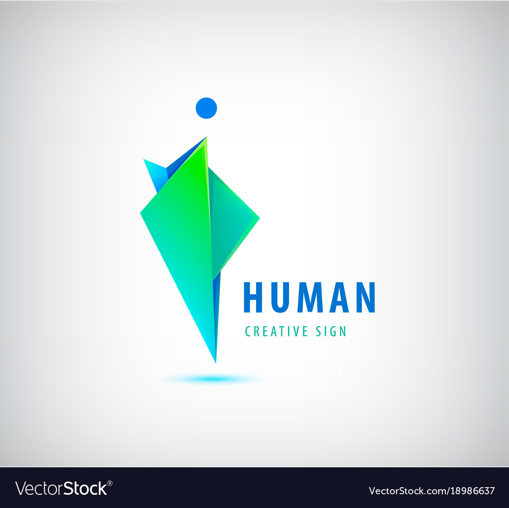 Human logo sign origami shiny modern man vector image jeuxipadfo Gallery