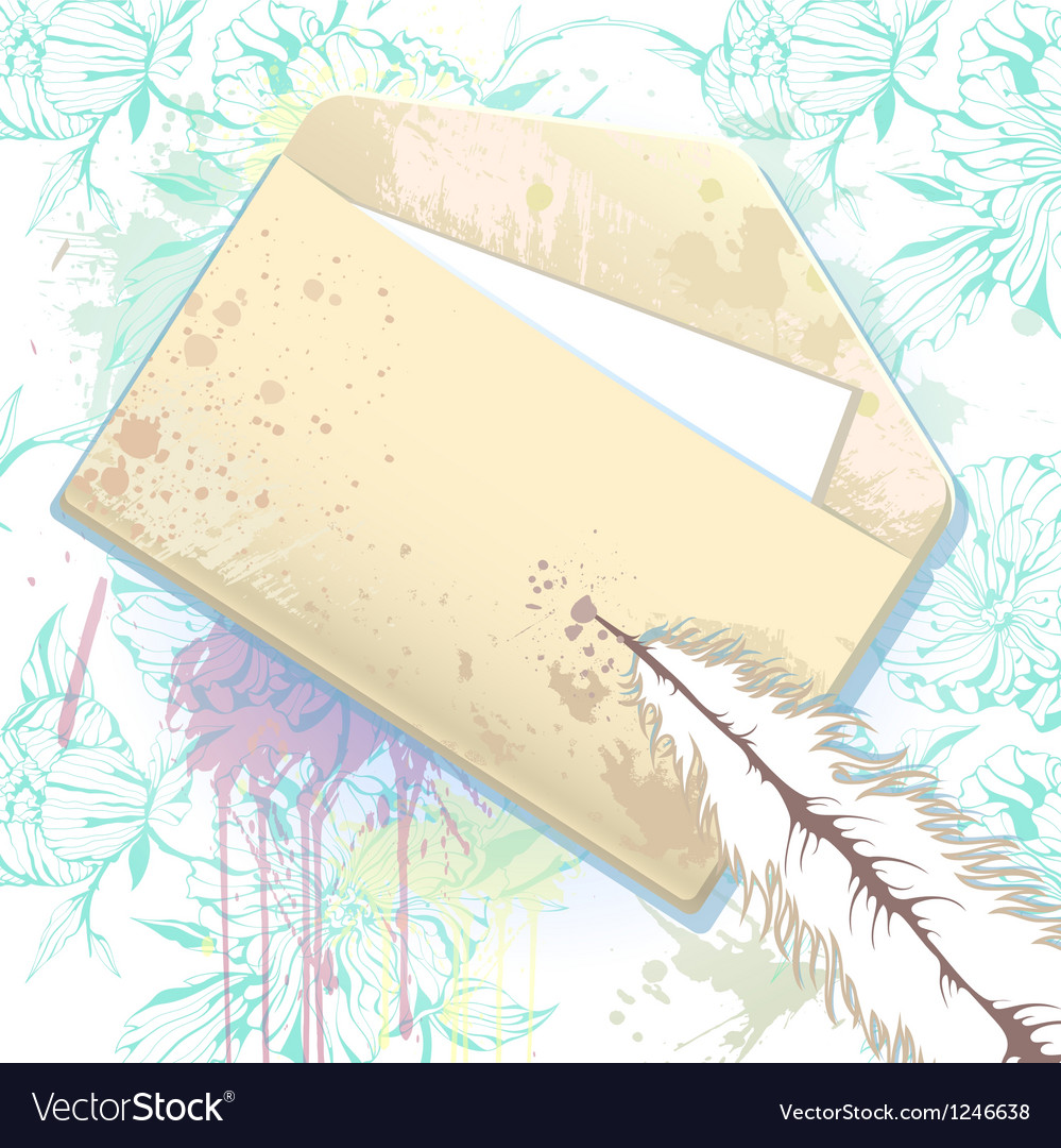 Card with grunge envelope Vector Image