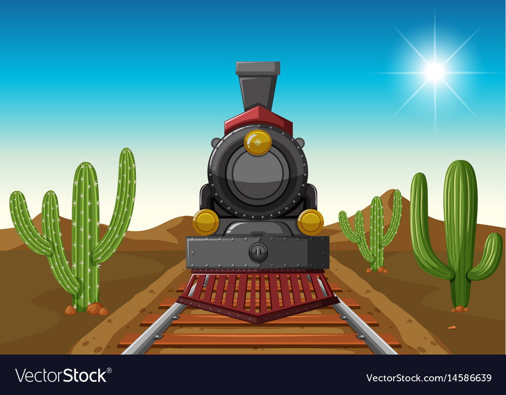 Train ride in middle of desert vector image