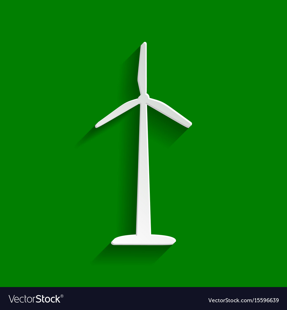 Wind turbine logo or sign paper whitish vector image