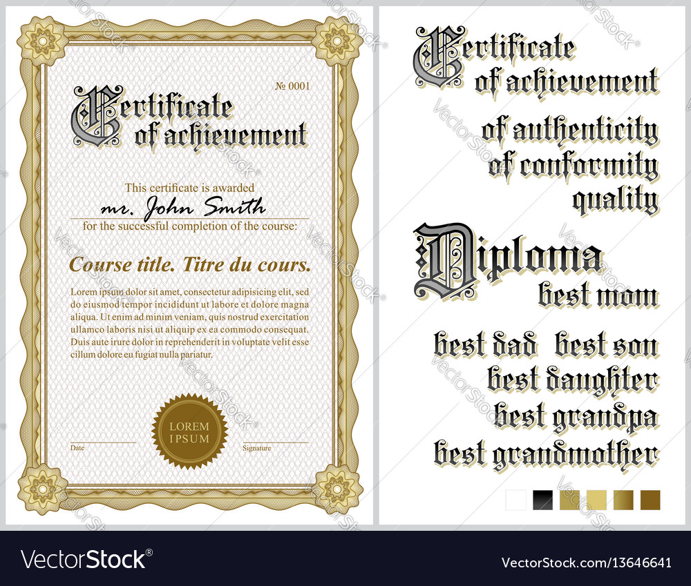 Gold certificate template guilloche vertical vector image gold certificate template guilloche vertical vector image yelopaper Gallery