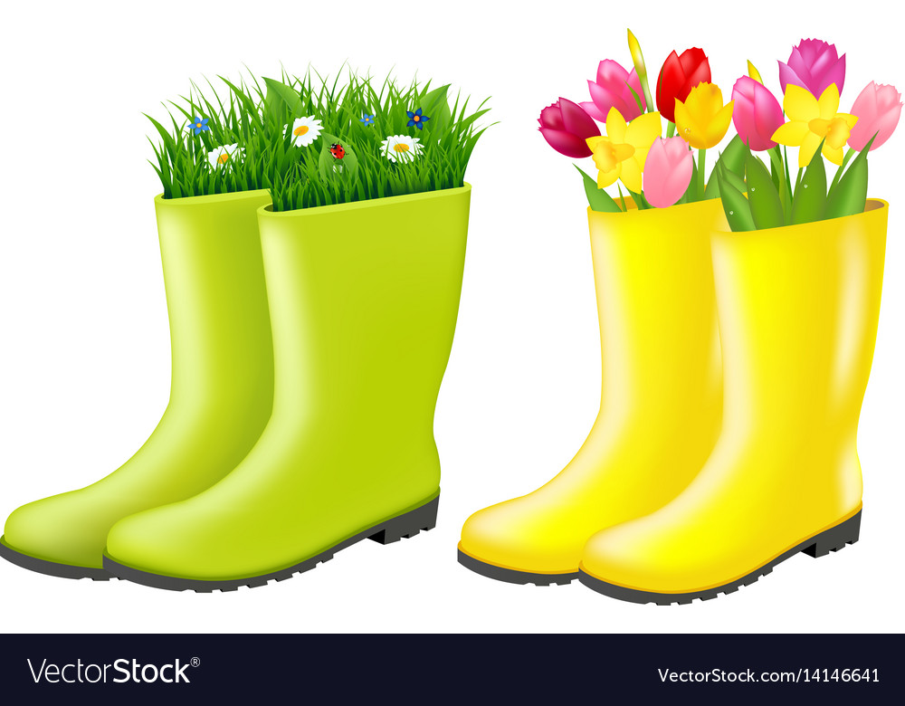 Gumboots set with grass and flowers vector image