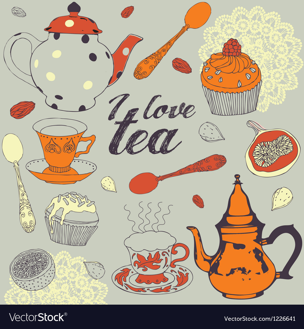 Seamless background Love tea vector image