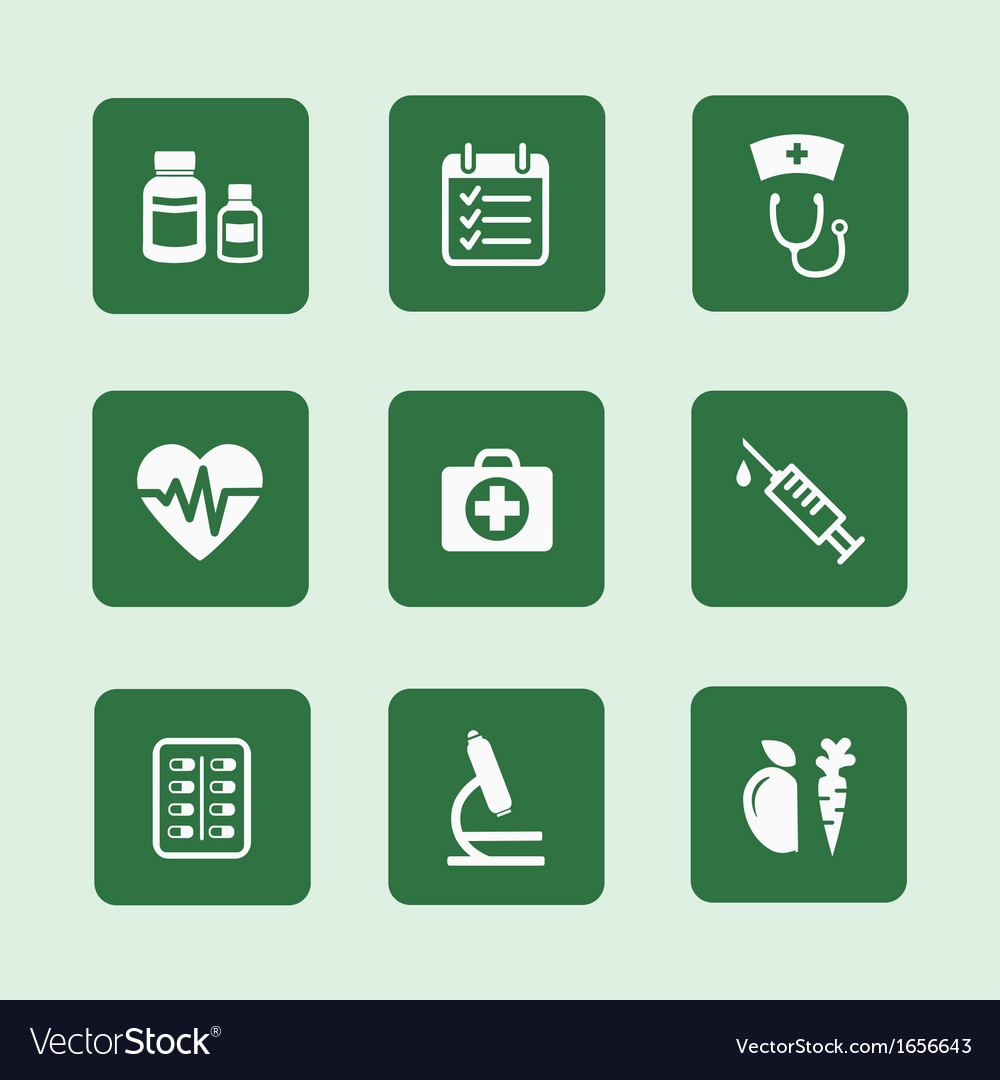 Health icons set vector image