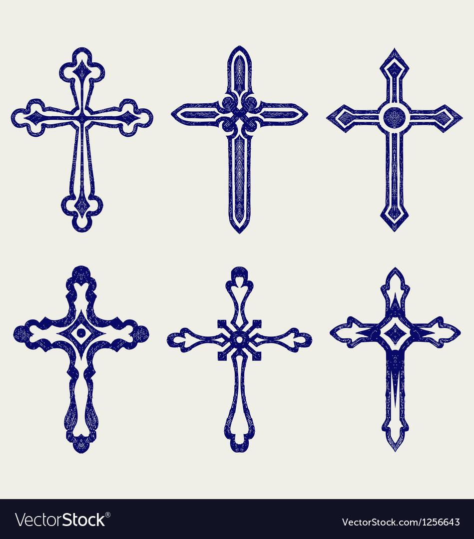 Religious cross design collection vector image