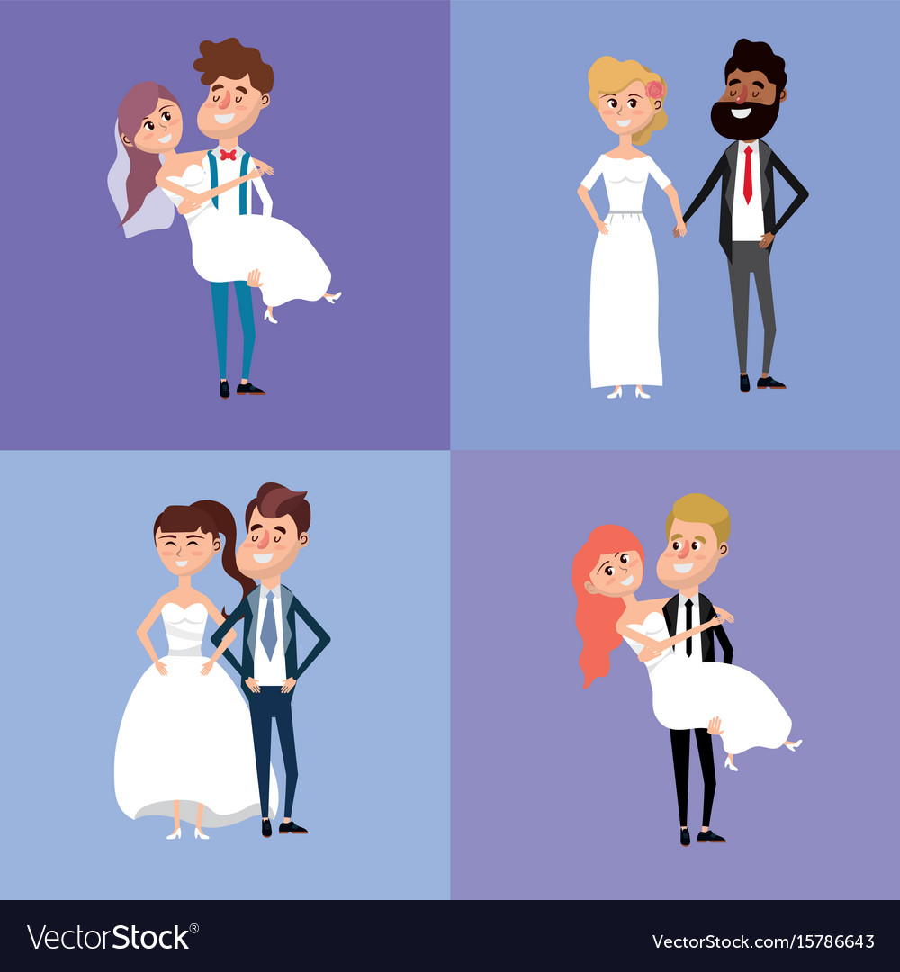 Set bried and groom marry style vector image