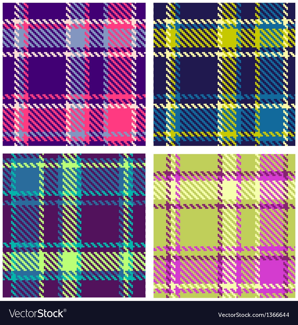 Set of Seamless Checkered Plaid Pattern vector image
