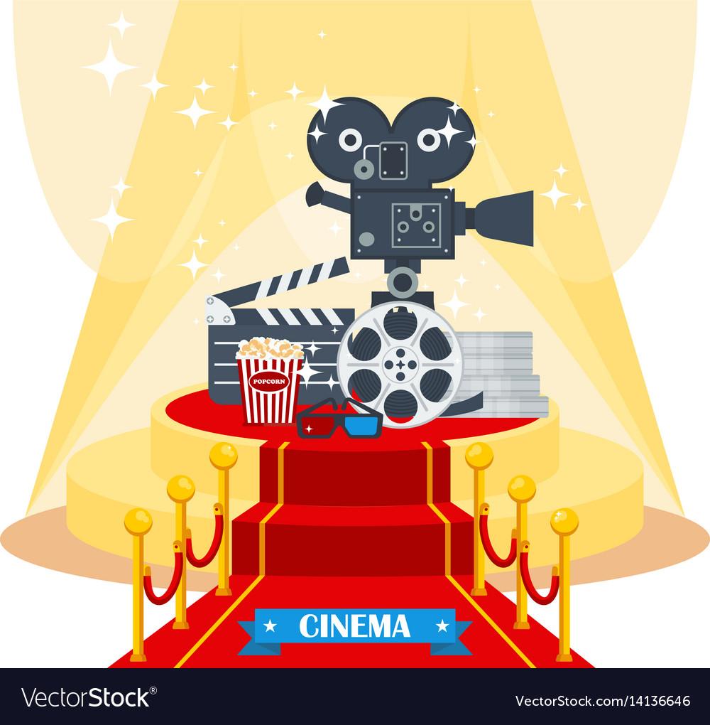 Cinema on red carpet vector image