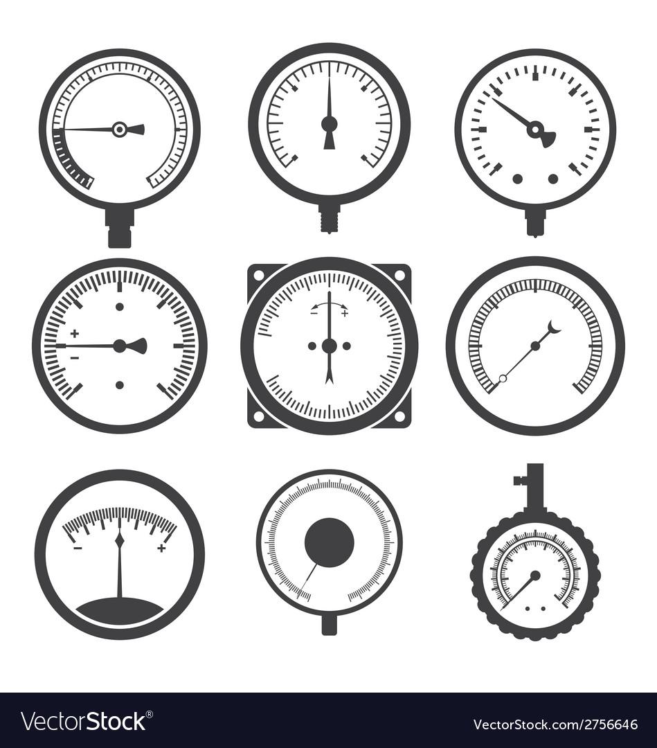 Manometers Or Pressure Gauges And Vacuum Vector Image