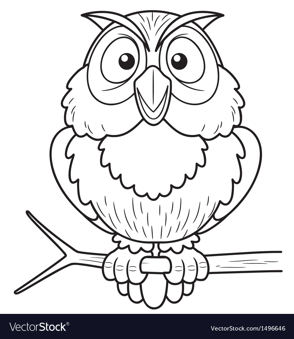 owl outline royalty free vector image vectorstock
