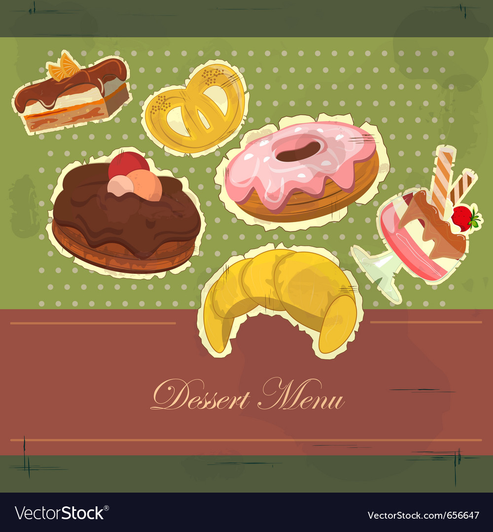 Dessert menu cover vector image
