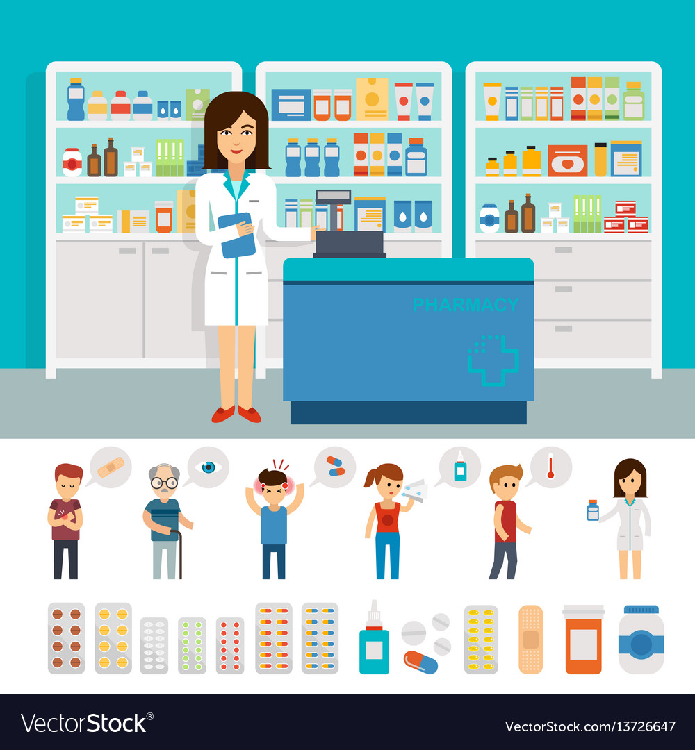 Pharmacy infographic elements and flat banner vector image