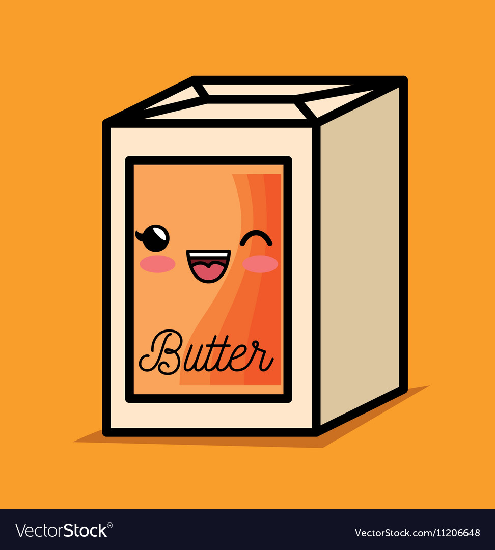 Butter kawaii breakfast cooking vector image
