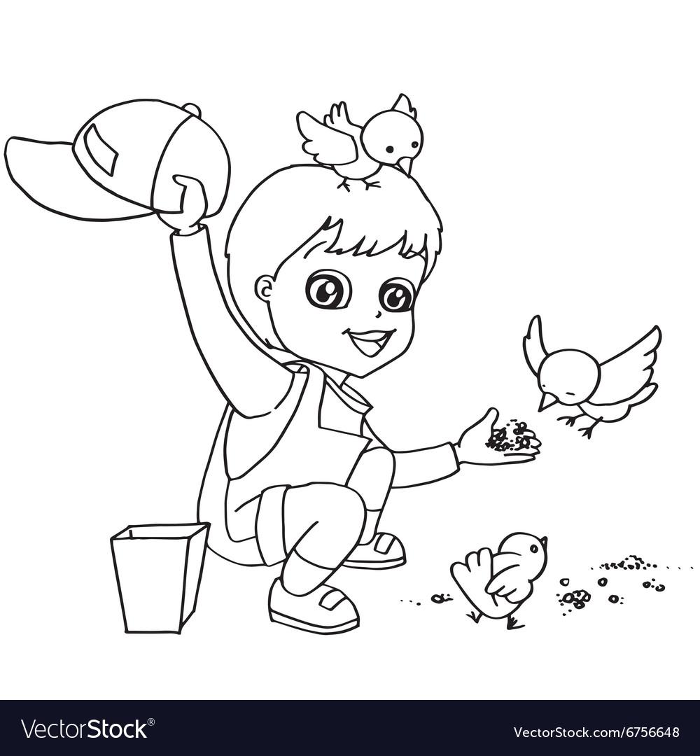 Coloring Book Child Feeding Bird Vector Image