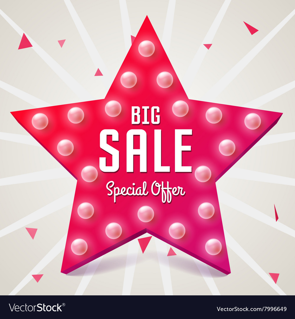 Big sale Pink star Sale retro banner vector image