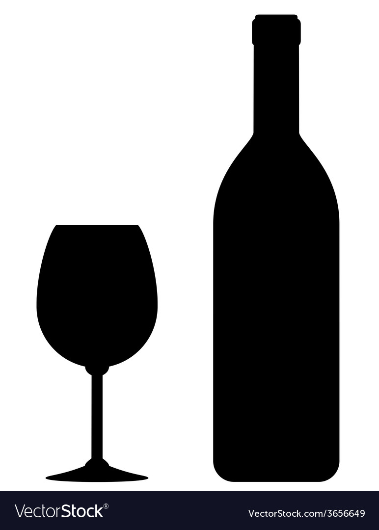 Black wine bottle and glass vector image