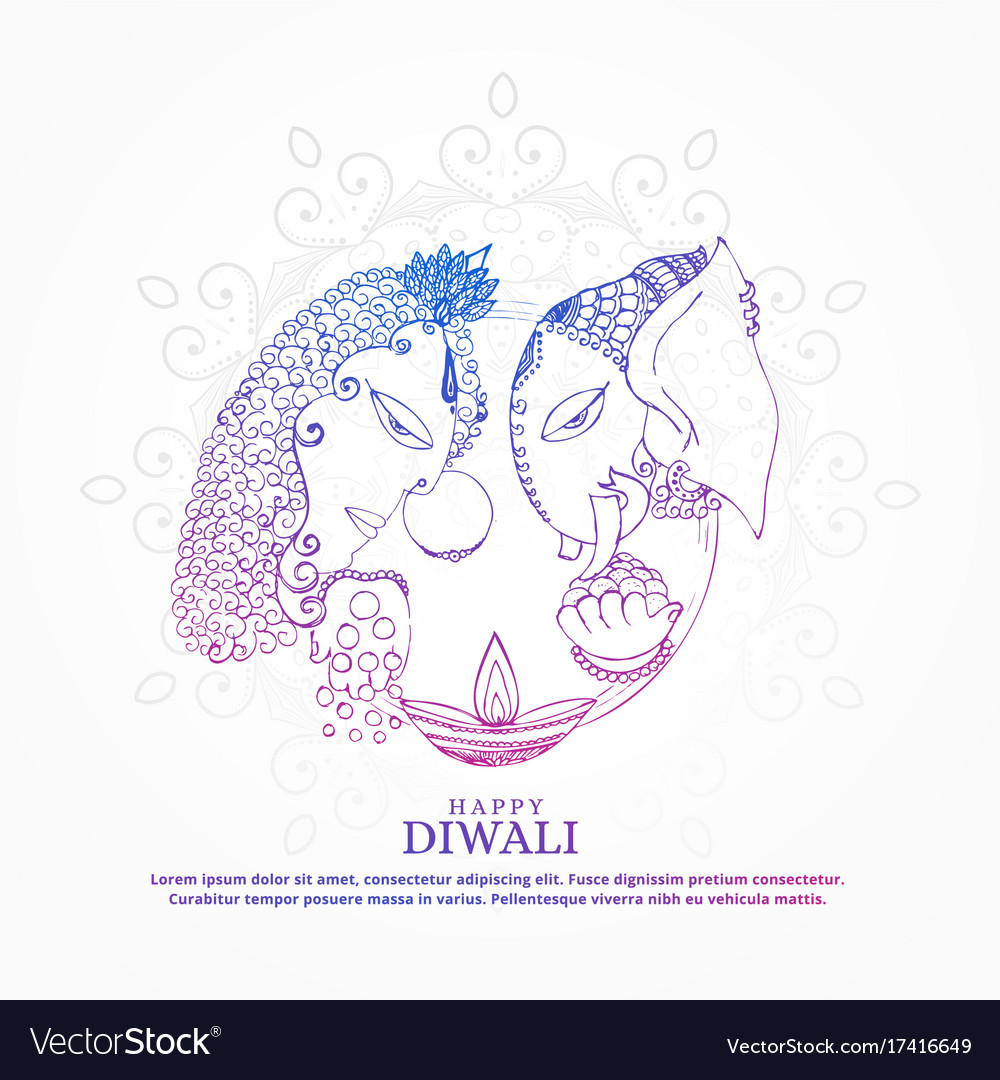 Goddess lakshmi and lord ganesha creative happy vector image