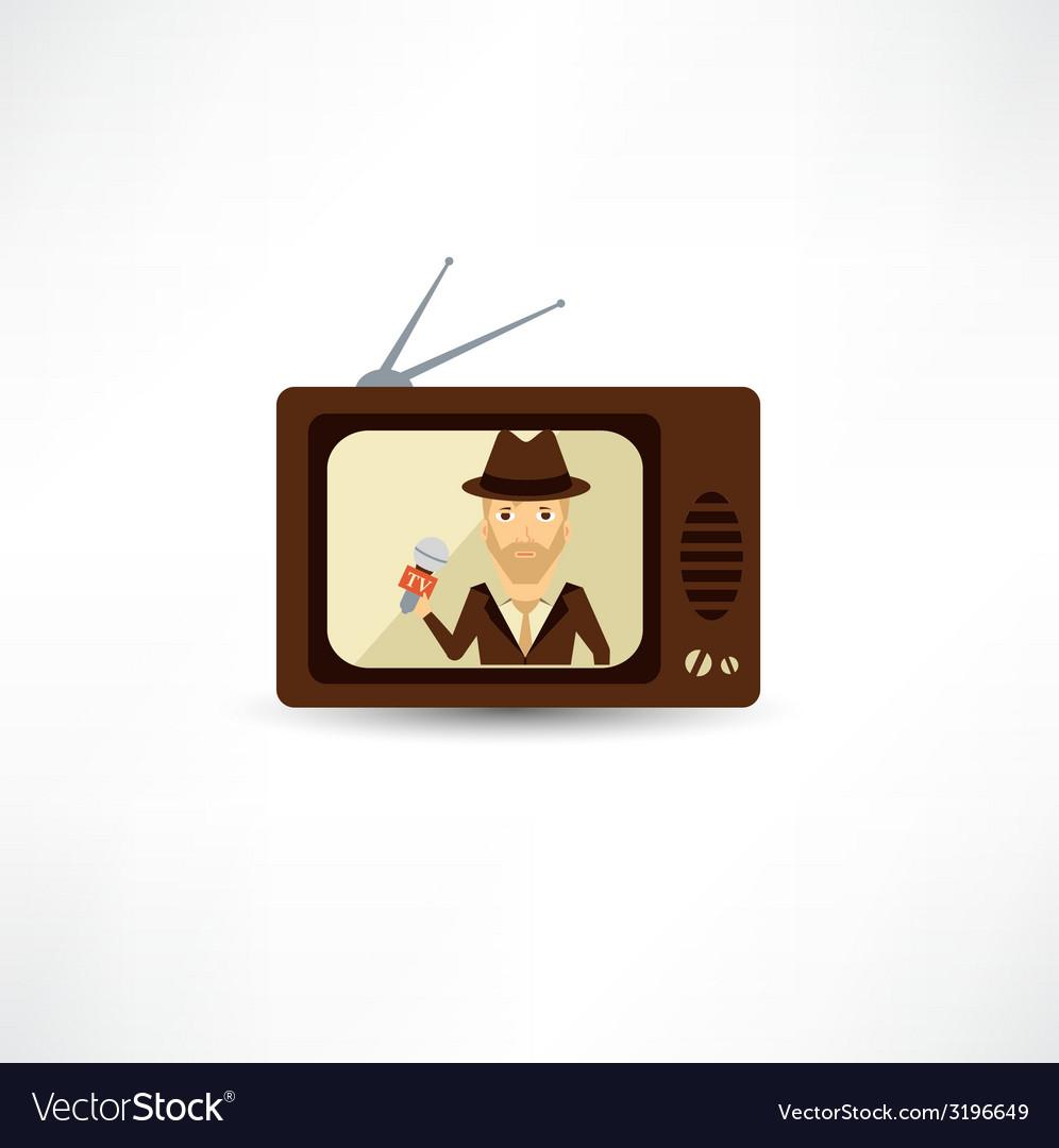 TV journalist acts in direct effire vector image
