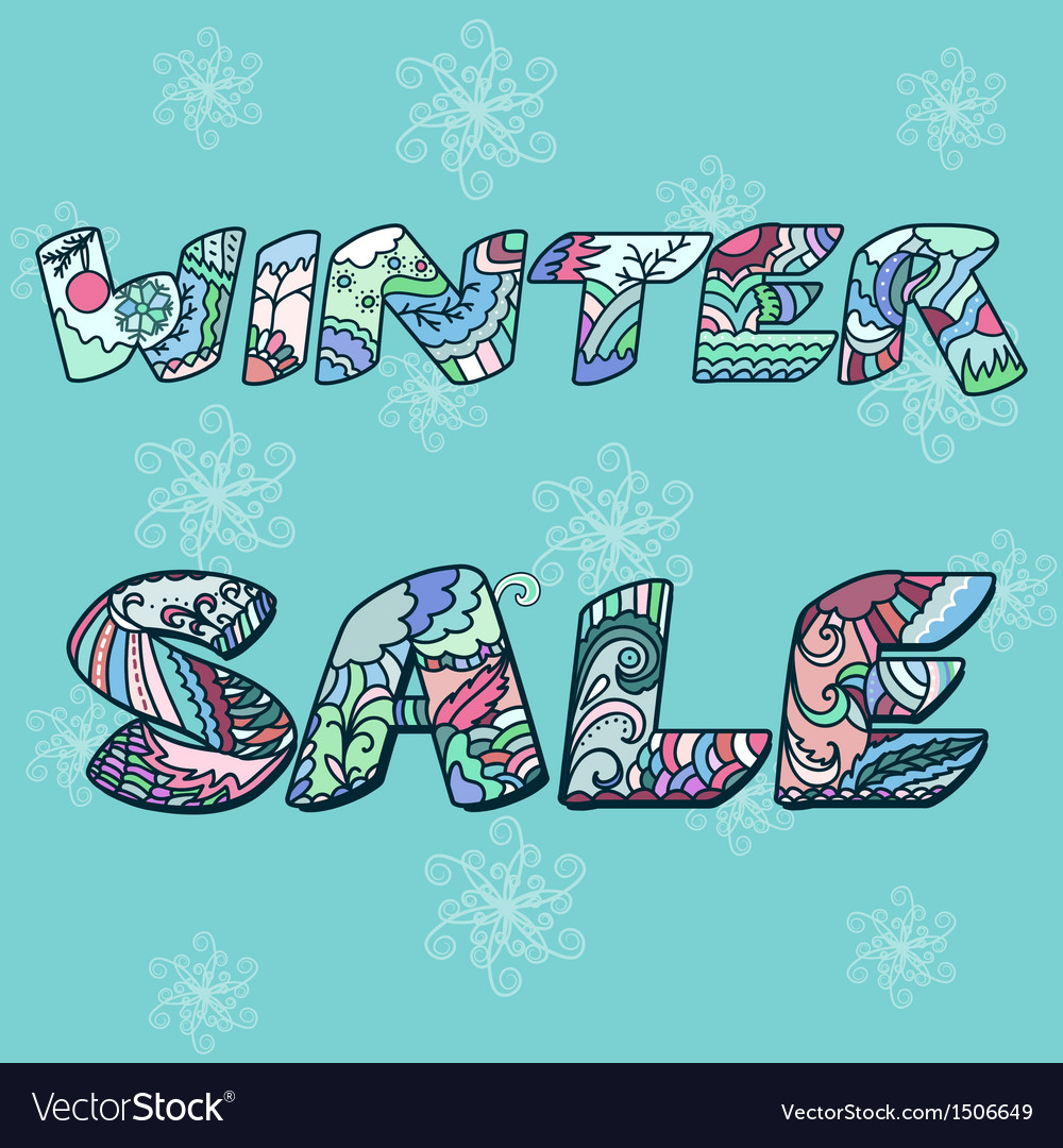 Winter sale words with hand drawn elements vector image
