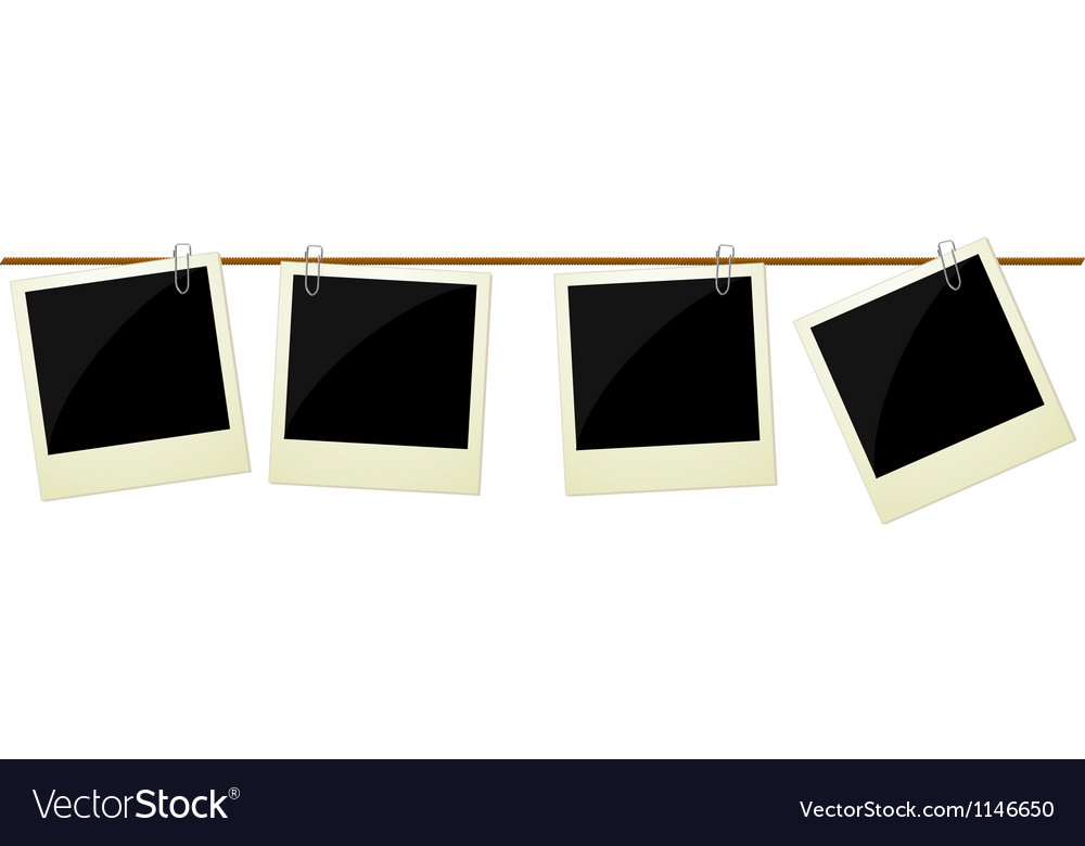 Four polaroid photos hanging on rope Vector Image