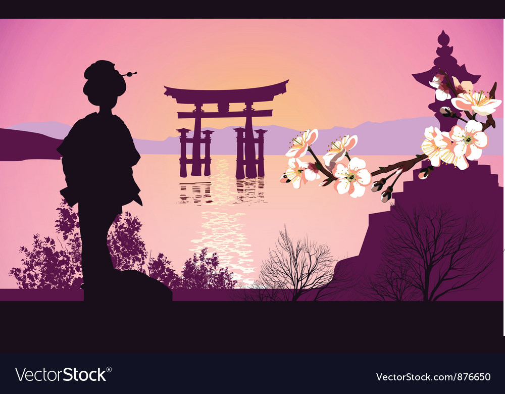 Geisha mountains vector image