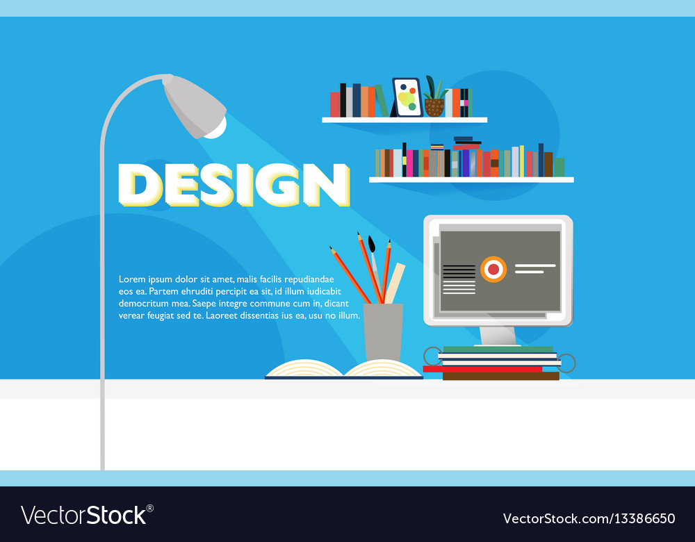 Flat workspace site template vector image