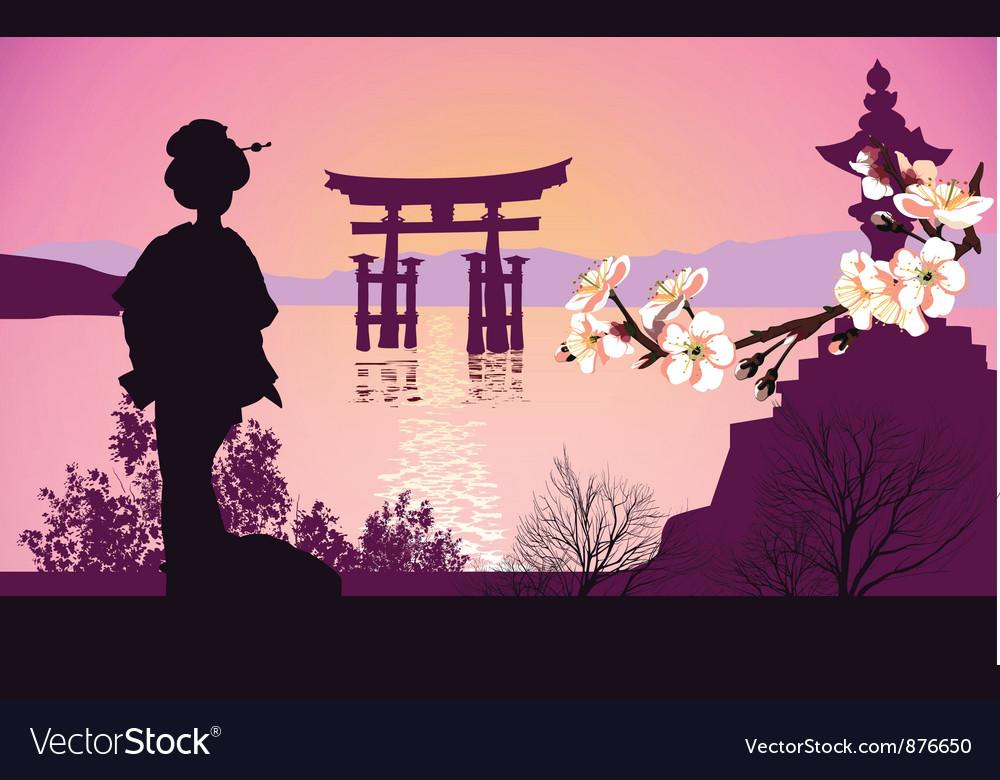Geisha mountains vector image
