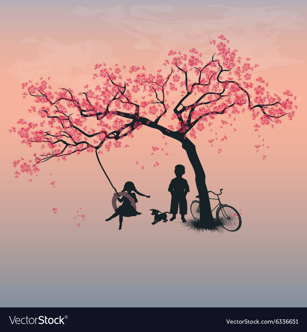 Children playing on a tire swing vector image