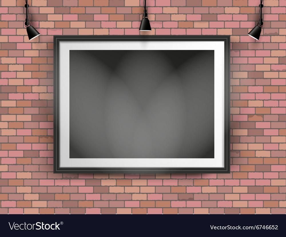 Black photo frame on brick wall vector image