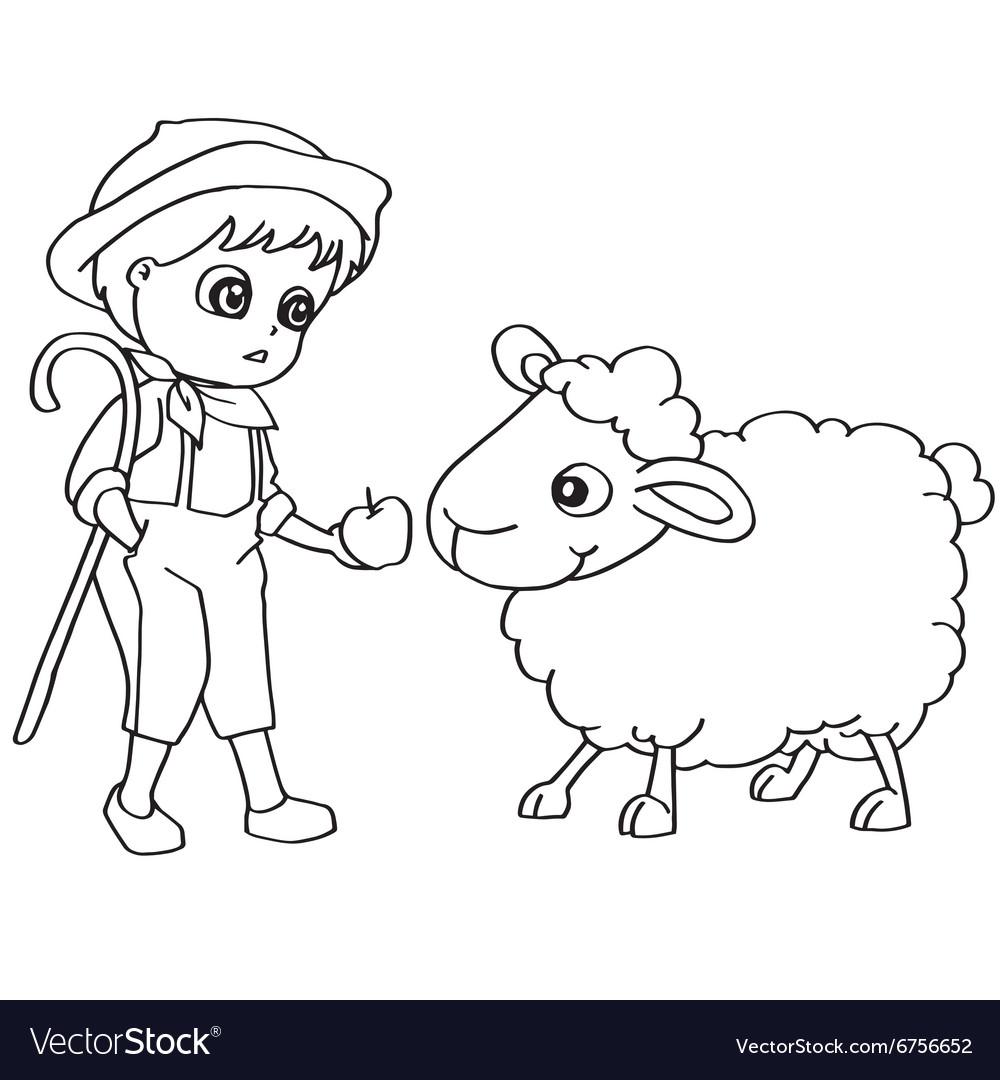 Coloring Book Child Feeding Sheep Vector Image