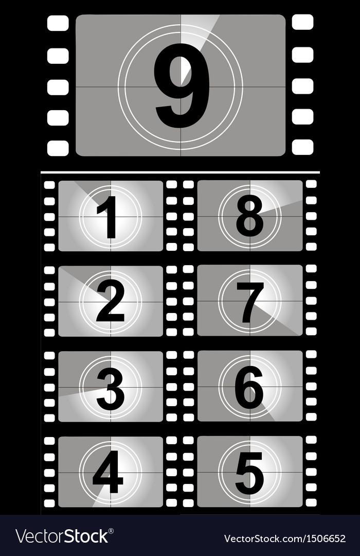 Film countdown numbers vector image
