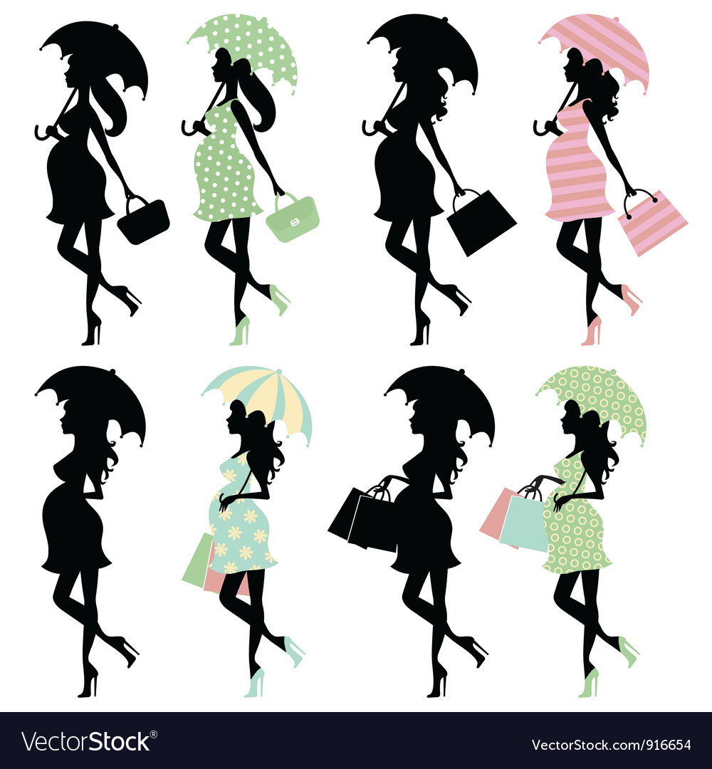 Silhouette moms vector image