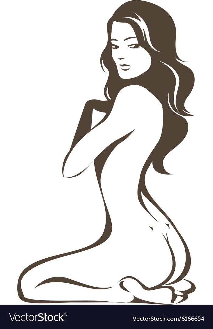 Nude female figure vector image