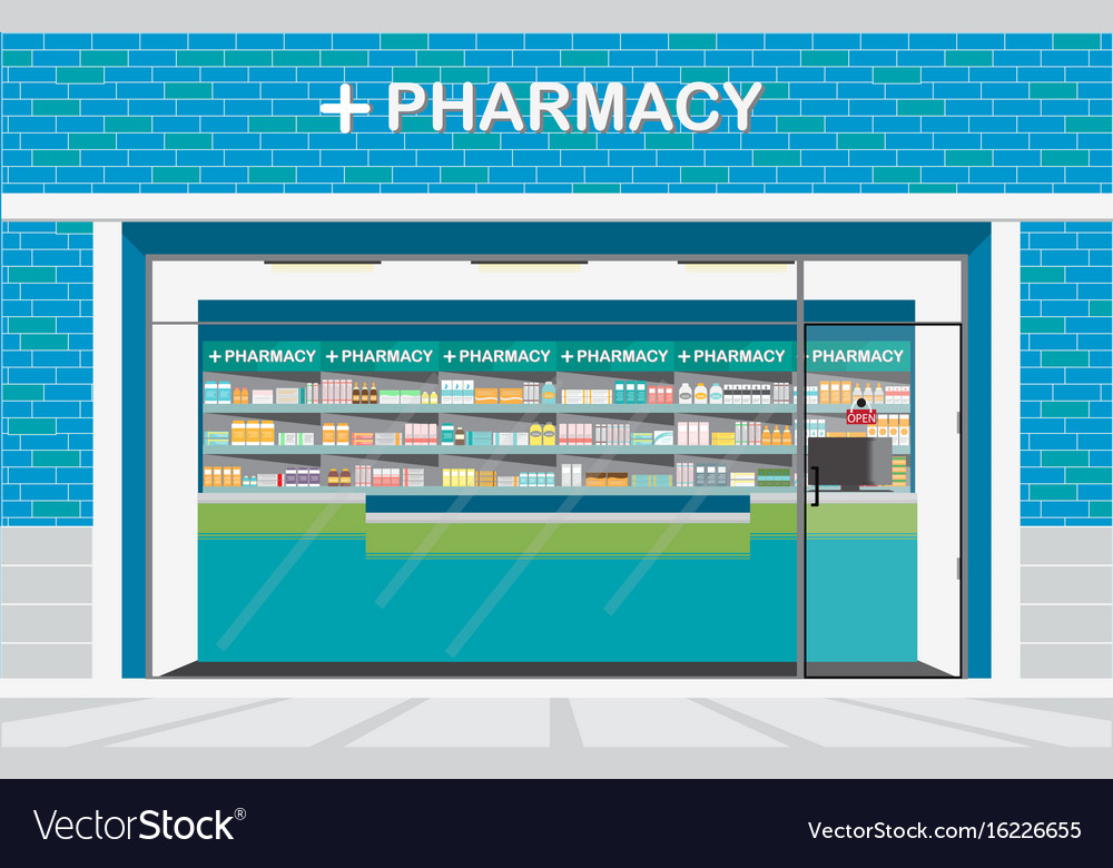 Building exterior front view and interior of drug vector image