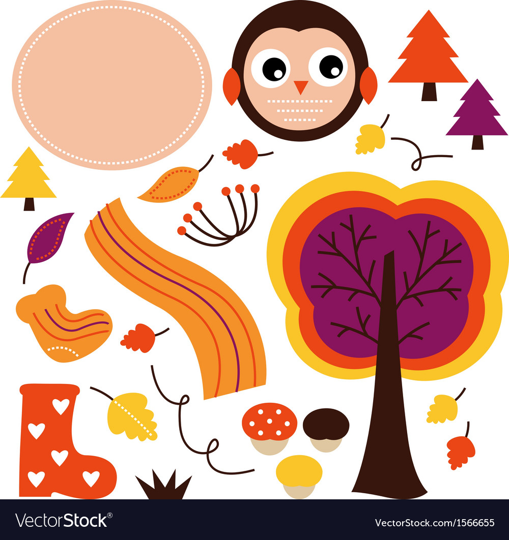 Cute autumn cartoon collection isolated on white vector image