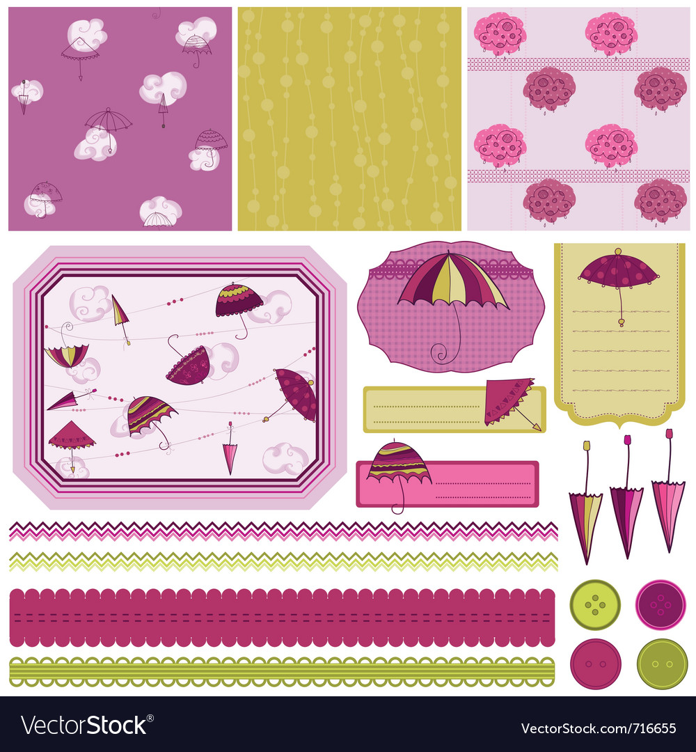 Design elements for scrapbook vector image