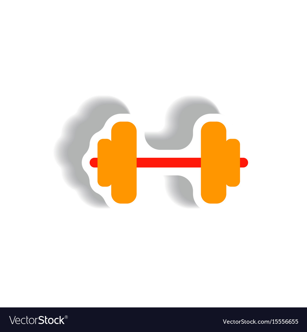 Stylish icon in paper sticker style barbell sport
