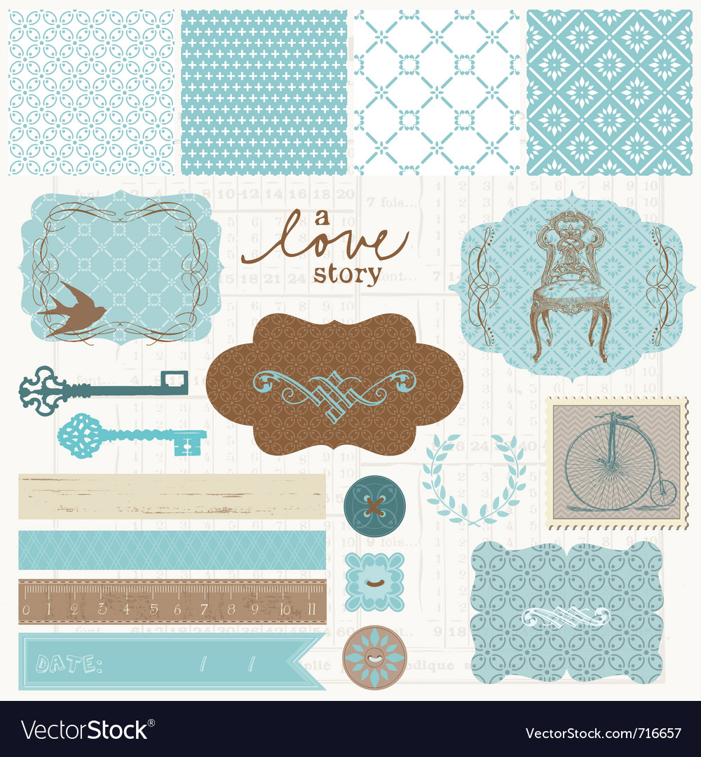 Vintage scrapbook elements vector image