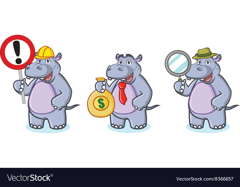 Hippo Mascot with money vector image