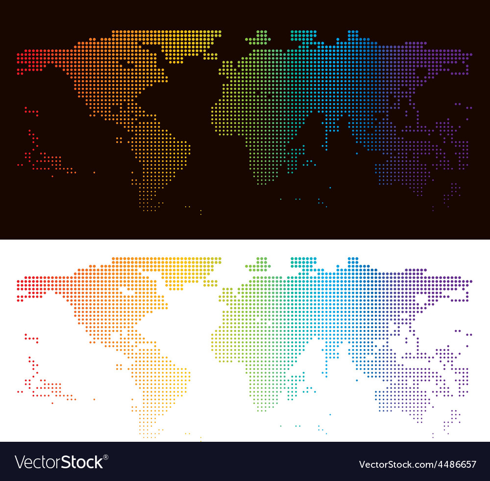 Rainbow halftone world map royalty free vector image rainbow halftone world map vector image gumiabroncs Images