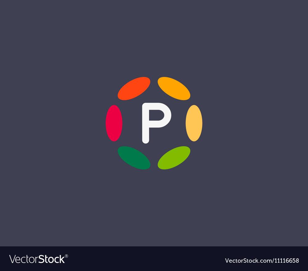 Color letter p logo icon design Hub frame vector image