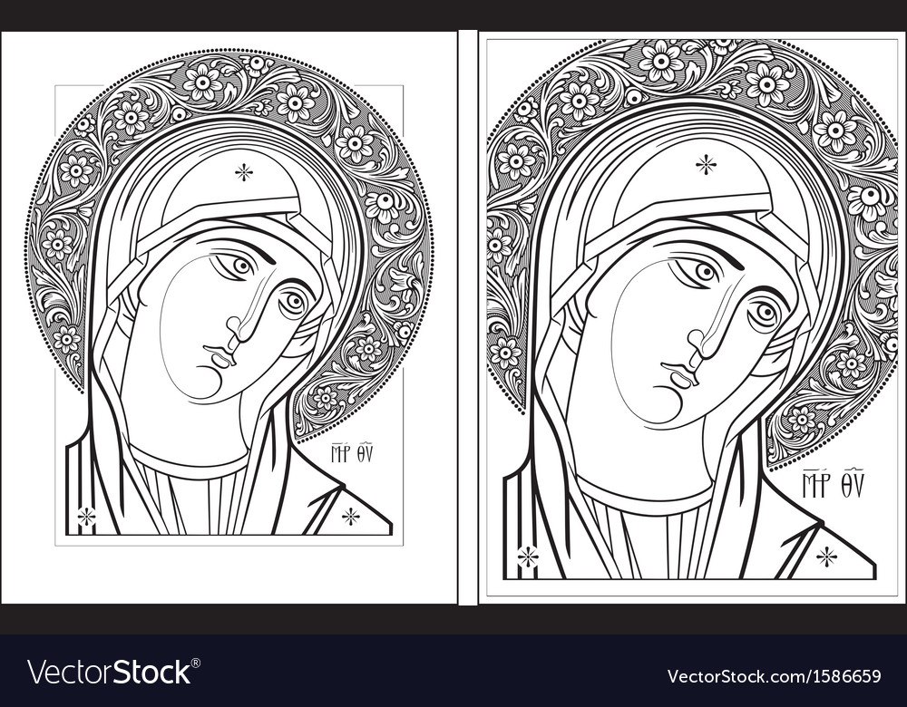 Virgin Oplechnaya outline11-12 picture Vector Image
