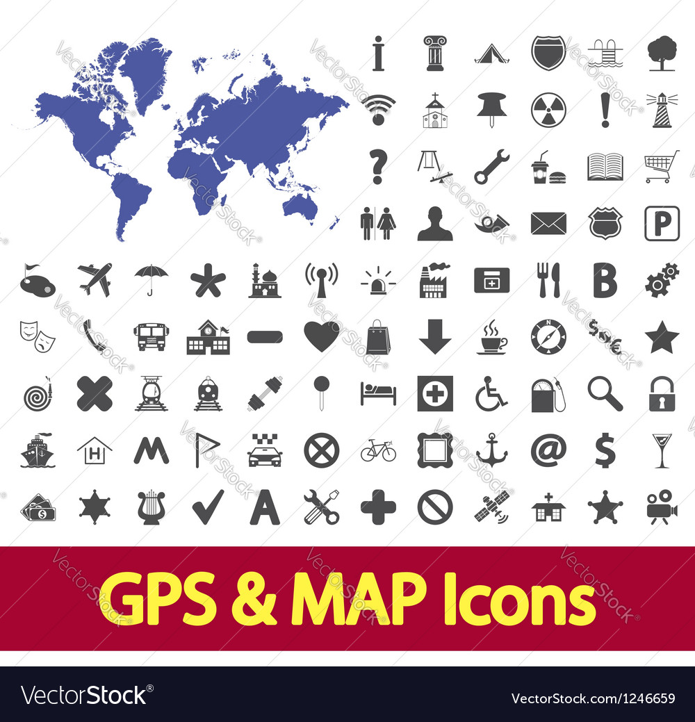 Navigation map icons Royalty Free Vector Image