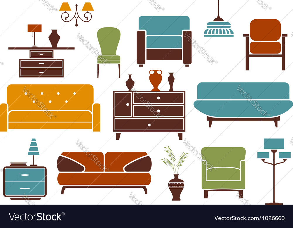 Furniture And Interior Design Elements Vector Image