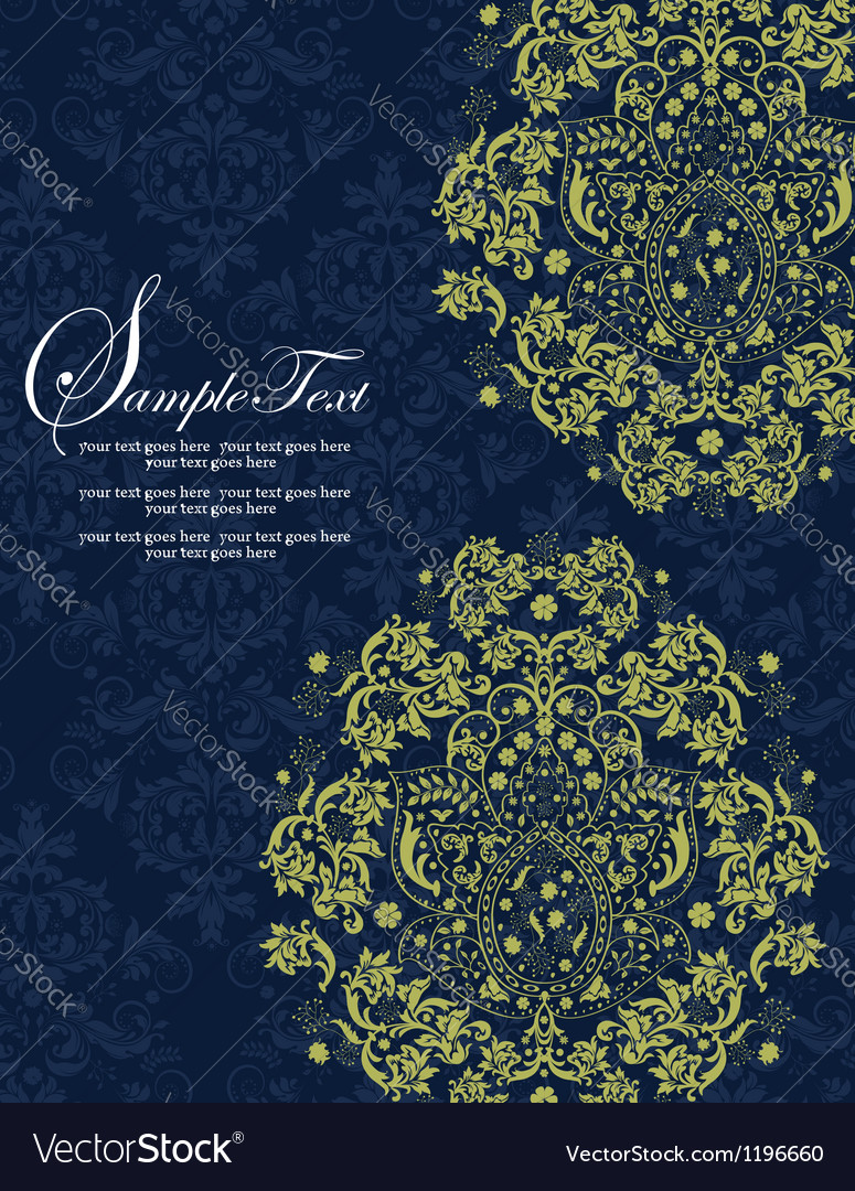 Navy and Lime Floral Wedding Invitations vector image