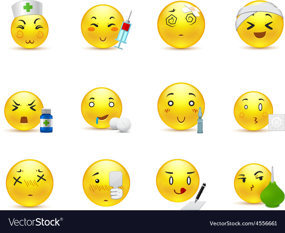 Anime emoticons doctor vector image
