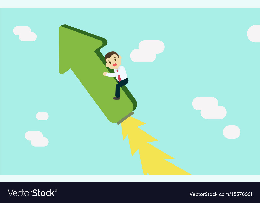 Young businessman riding on raised graph with jet vector image